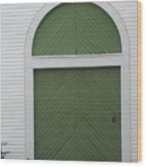 Green Door Arch Wood Print