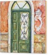 Green Door In Venice Italy Wood Print
