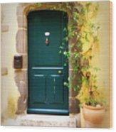 Green Door With Vine Wood Print