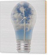 Green Energy - Wind Turbine Generator Inside A Light Bulb Wood Print