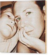 Green Eyed Mom Wood Print