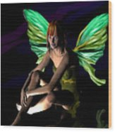 Green Fairie Wood Print