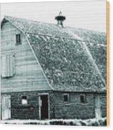 Green Field Barn Wood Print