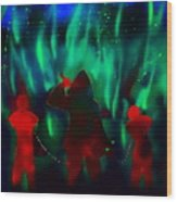 Green Flames In The Night Wood Print