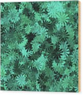 Green Floral Pattern Wood Print