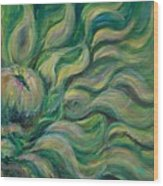 Green Flowing Flower Wood Print