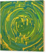 Green Forest Swirl Wood Print