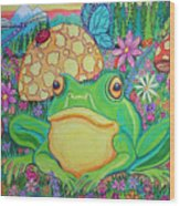 Green Frog With Flowers And Mushrooms Wood Print