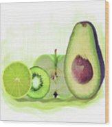 Green Fruits Watercolor Wood Print