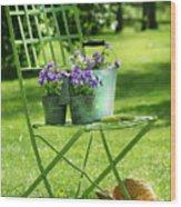 Green Garden Chair Wood Print by Sandra Cunningham
