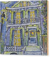 Green Garden District Home Wood Print