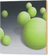 Green Globules Wood Print