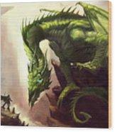 Green God Dragon Wood Print
