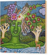 Green Goddesswith Waterfall2 Wood Print