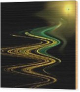 Green Gold Waves Wood Print