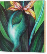 Green Golden Exotic Orchid Flower Wood Print