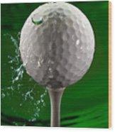 Green Golf Ball Splash Wood Print
