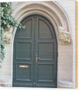 Green Guarded Door Wood Print