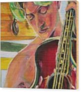 Green Hair Red Bass Wood Print