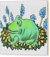 Green Happy Frog Wood Print