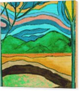 Green Hill Country Wood Print