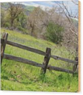 Green Hills And Rustic Fence Wood Print