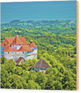 Green Hills Of Zagorje Region And Veliki Tabor Castle View Wood Print