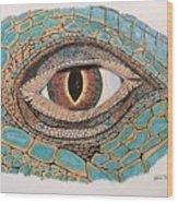 Green Iguana Eye Wood Print