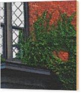 Green Ivy Garnet Brick Wood Print