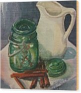 Green Jar Wood Print