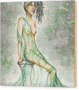 Green Lady  Wood Print by Karen Musick
