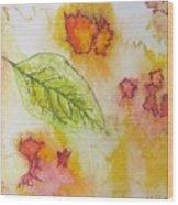 Green Leaf Of Fall Wood Print