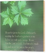 Green Leaves Ps.100 V 1-3 Wood Print