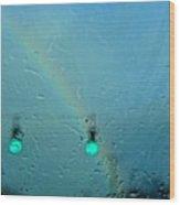 Green Light To A Rainbow Wood Print