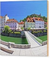 Green Ljubljana Riverfront Panoramic View Wood Print