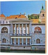 Green Ljubljanica Riverfront In Ljubljana Wood Print