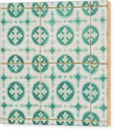 Green Lucky Charm Lisbon Tiles Wood Print