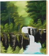 Green Mist Fantasy Falls Dreamy Mirage Wood Print
