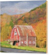 Green Mountains Barn Wood Print