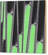 Green on Black Wood Print