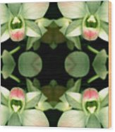 Green Orchid Meeting Wood Print