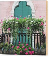 Green Ornate Door With Geraniums Wood Print