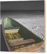 Green Paddle Boat Playa Del Carmen Wood Print