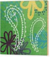 Green Paisley Garden Wood Print