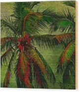 Green Palms Wood Print