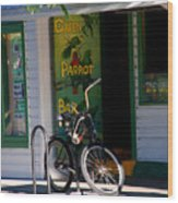 Green Parrot Bar Key West Wood Print
