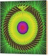Green Parrot Mandala Wood Print