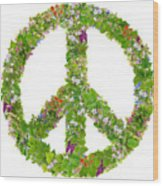 Green Peace Symbol From  Spring Plants Wood Print