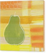 Green Pear- Art By Linda Woods Wood Print