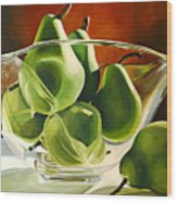 Green Pears In Glass Bowl Wood Print